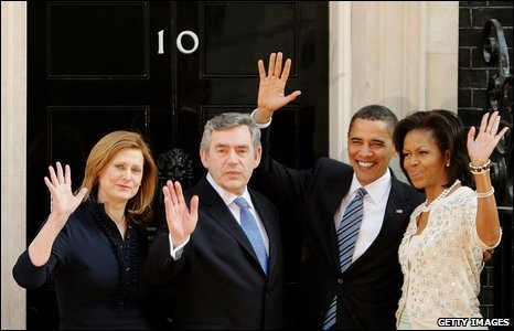 Browns and Obamas in Downing Street