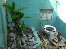 Former bathroom in ruined house in Kep