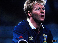 Maurice Johnston in action for Scotland