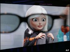 Monsters vs Aliens on the screen