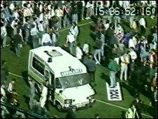 Tony Edwards' ambulance on the hillsborough pitch