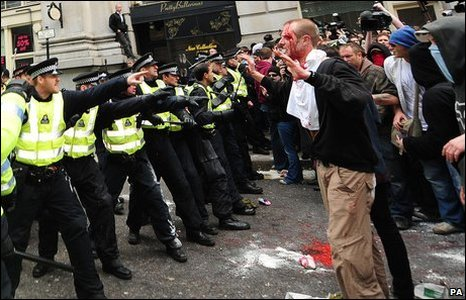 A man claiming to be injured confronts police