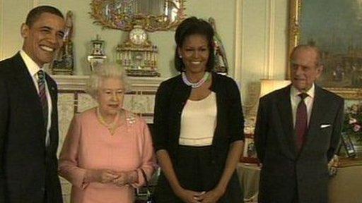 President Obama and First Lady Michelle meet the Queen and Duke of Edinburgh at Buckingham Palace