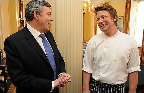 Gordon Brown and Jamie Oliver