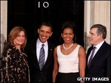The Obamas and Browns at Downing Street