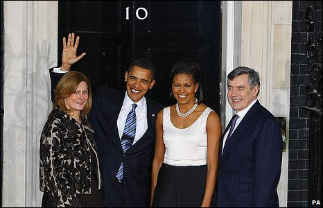 Gordon and Sarah Brown and Barack and Michelle Obama