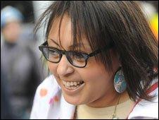 Smiling demonstrator
