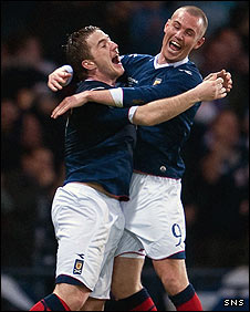 Ross McCormack (left) was on target for Scotland