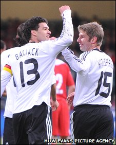 Germany midfielder Michael Ballack celebrates his goal against Wales