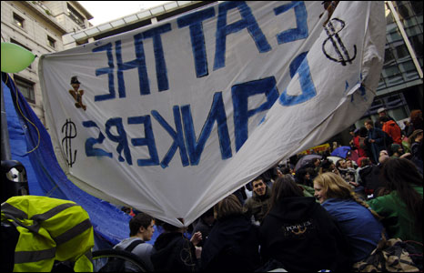 Banner at Climate Camp demo