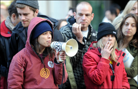 Demonstrator uses megaphone