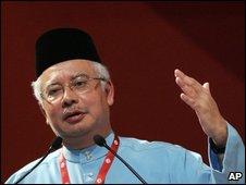 Najib Razak addressing an Unmo conference, 28 March