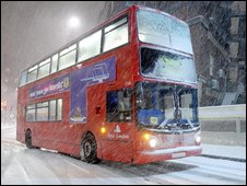 A bus in heavy snow