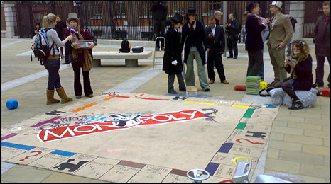 Blogger Moorgate Mercurius took this photo of an over sized monopoly board being used by protesters this morning outside the Stock Exchange