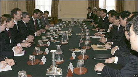 Chinese President Hu Jintao and delegation in Cabinet room