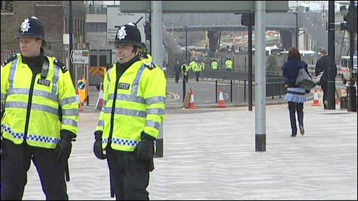 Police at the Excel Centre