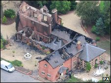 Fire-damaged Osbaston House in Maesbrook, Shropshire