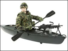 A commando in a canoe