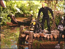 Scene showing diver toy