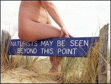 Nudist on Studland Beach, England