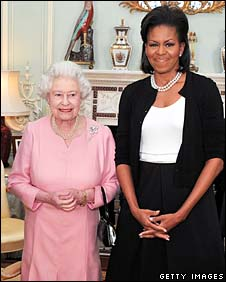 The Queen and Michelle Obama at Buckingham Palace on 2 April 2009