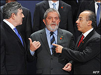 Gordon Brown, Luis In�cio Lula da Silva y Felipe Calder�n