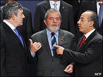 Gordon Brown, Luis Inácio Lula da Silva y Felipe Calderón