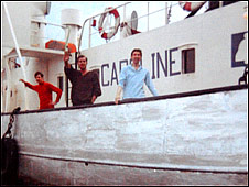 Keith Skues (right) aboard Radio Caroline in 1965