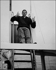 Keith Skues aboard Radio Caroline in 1965