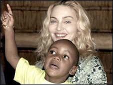 Madonna and adopted son David Banda