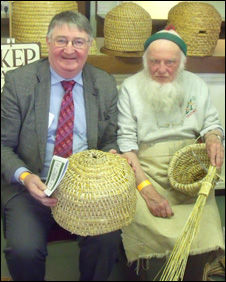 Roger Williams MP  (left) with beekeeper Karl Showler at the recent Welsh Beekeepers Convention in Powys.