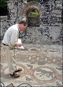 Art historian studies mosaic (pic: Butrint Foundation)