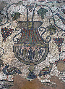 Mosaic vase in Baptistery (pic: Butrint Foundation)