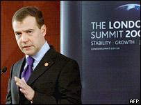 Президент России Дмитрий Медведев на пресс-конференции после саммита 'Большой двадцатки' в Лондоне