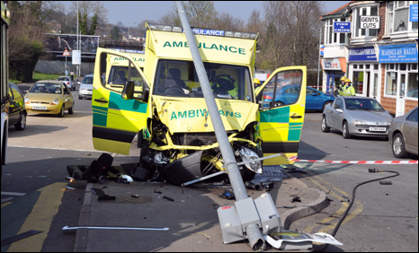 Ambulance crash in Newport (Pic: Mike Hibbert)