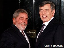 Brazilian President Luiz Inacio Lula da Silva, with British Prime Minister Gordon Brown in London (01 April 2009)