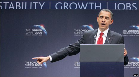 US President Barack Obama speaks after the G20 summit in London