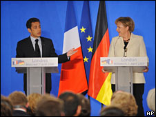 French President Nicolas Sarkozy and German Chancellor Angela Merkel, on 1 April 2009