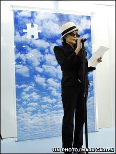 Yoko Ono in front of her piece (Image: UN photo/Mark Garten)