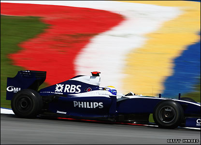 Williams' Nico Rosberg puts in the quickest time in first practice