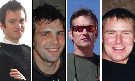 Four of the victims of the crash - Richard Menzies, Stuart Wood, David Rae and Vernon Elrick