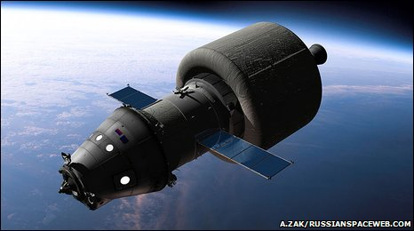 Artist's impression of the future vehicle, equipped with a booster stage to escape the Earth�s gravity and to reach lunar orbit.