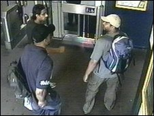 (From left) Shahzad Tanweer, Germaine Lindsay and Mohammed Sidique Khan enter Luton Train Station