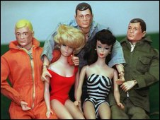 Action Man figures with female dolls in the 1960s