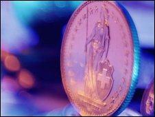 A Swiss franc coin