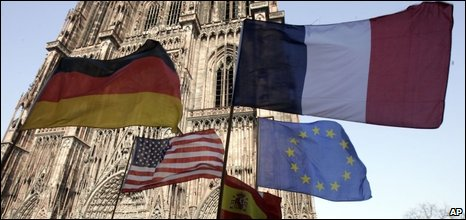 Flags fly outside Strasbourg cathedral