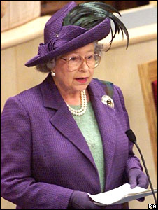 The Queen delivers her speech during the opening ceremony of the Scottish Parliament in 1999