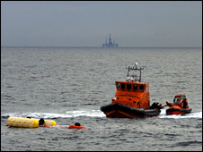 The capsized Super Puma helicopter which ditched in February