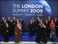 Diganatarios en la cumbre del G-20, en Londres