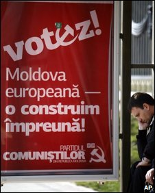 Communist Party poster in Moldova